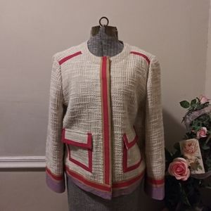 EUC Tory Burch Cream Boulce Jacket With Red Trim